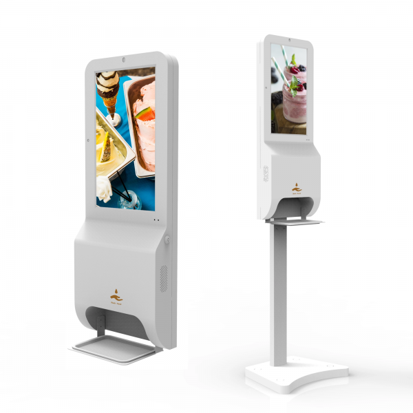 digital signage with touchless sanitizer